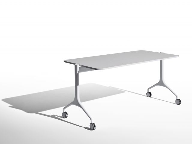 MYNE | Training Tables | Ash Blanco Veneer | Cloud Powdercoat Base