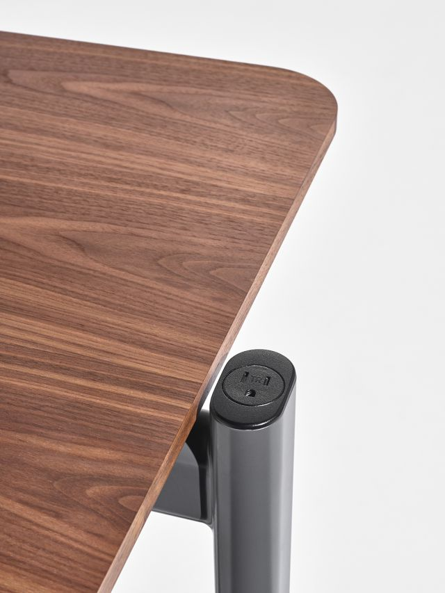 MYNE Out | Training Table | Walnut Veneer | Power Cap Simplex Receptacle