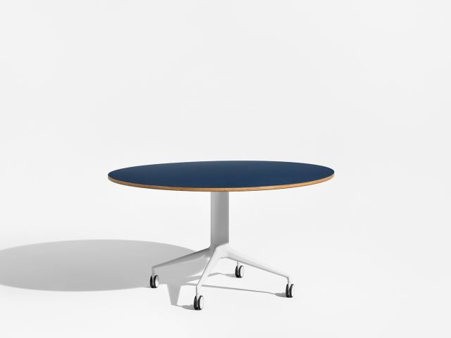 MYNE | Column Base | Round Linoleum Top | Cloud Powdercoat Base | Casters