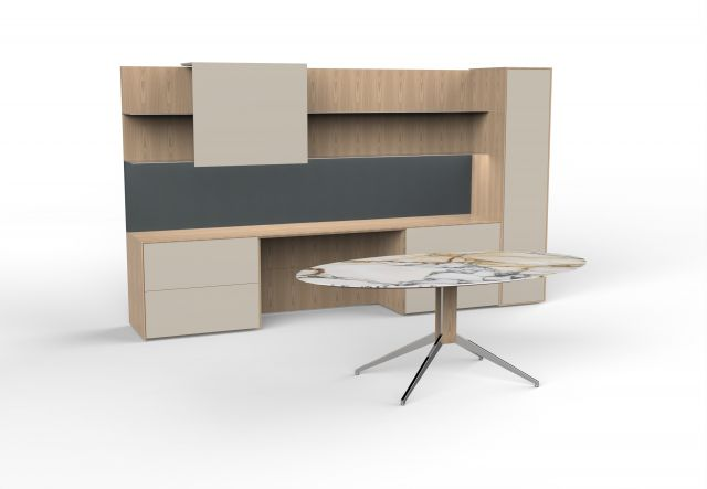 Merino | Casegood and Meeting Table | Dune Veneer | COM Marble Top
