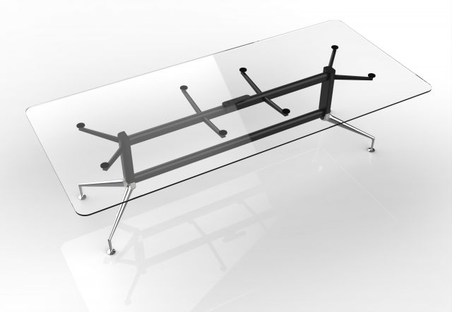 MYNE Meeting | Conference Table | Clear Glass Top | Black Powdercoat Base | Polished Chrome Legs and Glides