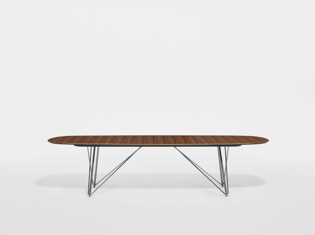 Baja | Conference Table | Soft Rectangle Paldao Veneer Top | Polished Chrome Wire Frame Base
