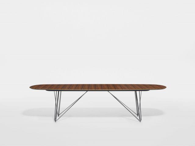 Baja | Conference Table | Soft Rectangle Paldao Veneer Top | Polished Chrome Wire Frame Base