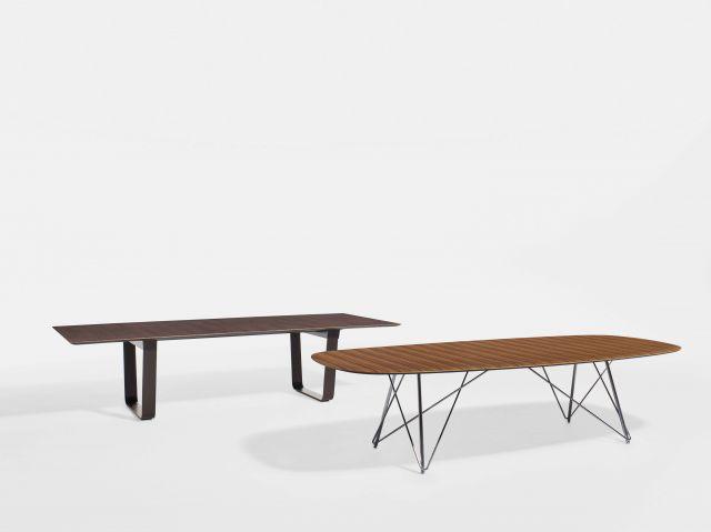 Baja | Conference Table | Soft Rectangle Paldao Veneer Top | Polished Chrome Wire Frame Base Baja | Conference Table | M07 Bramble Oak Veneer Top | Aged Bronze Powdercoat Hoop Base
