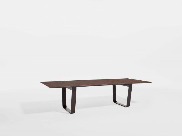 Baja | Conference Table | M07 Bramble Oak Veneer Top | Aged Bronze Powdercoat Hoop Base