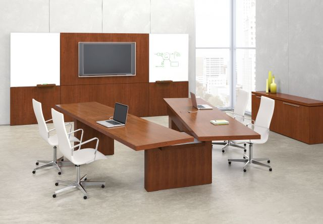 Neos   Conference Table   G95 Spring Cherry Veneer   Articulating Table   Open