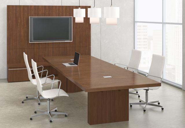 Neos   Conference Table   Rectangle Natural Walnut Veneer Top   Veneer Panel Base