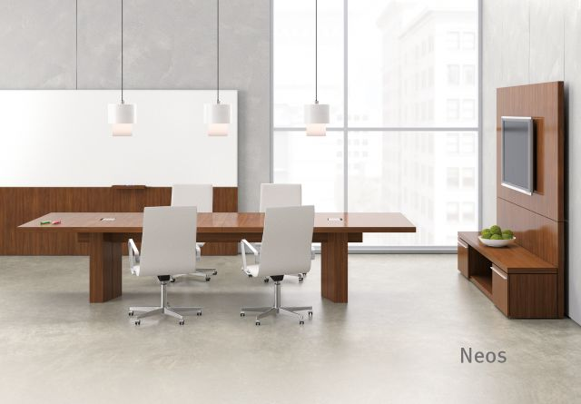 """Neos   Conference Table   Rectangle G25 Natural Walnut Veneer   144"""" x 48"""" Size"""