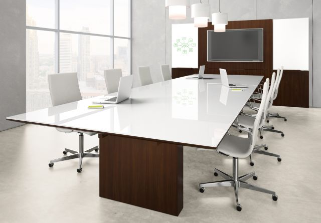 Neos   Conference Table   Rectangle WS White Satin Glass Top   Mocha Walnut Panel Base