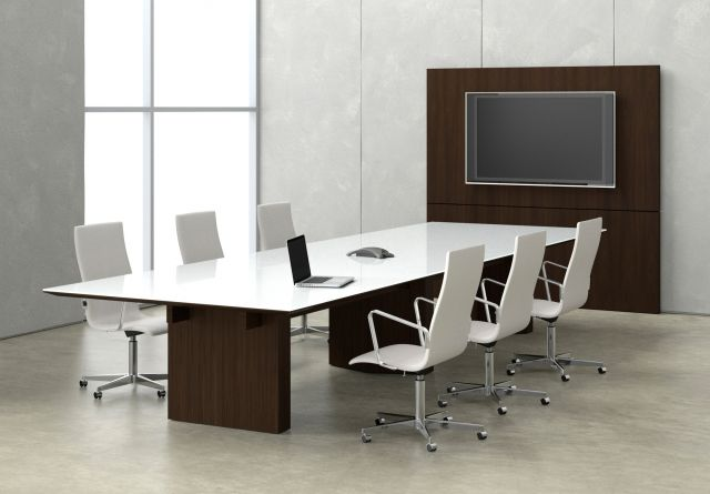 Neos   Conference Table   Rectangle WS White Satin Glass Top   Mocha Walnut Panel Base   Angled View