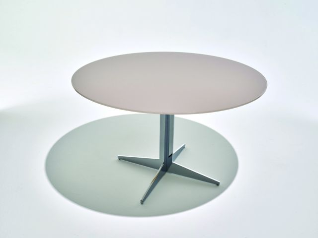 Ascari | Meeting Table | Quill Satin Glass | Chrome
