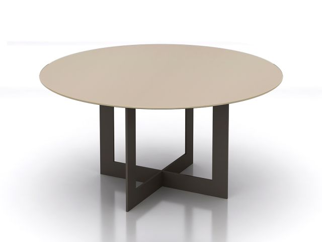 Ascari | Meeting Table | Round Quill Glass Top | Aged Bronze Open Frame Base