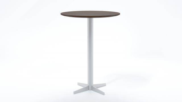 Flow | Meeting Table | Otter Walnut Veneer | Foil Powder Coat Base | Cafe Height