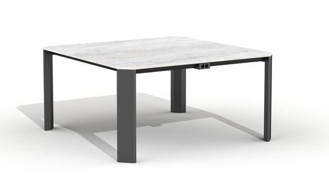 "Tova | Meeting Table | Square Shape 60"" x 60"" | Carrara Marble Top | Storm Powder Coat Base | Power Tab"