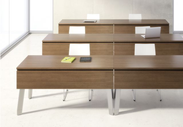 Agility | Reconfigurable Tables | G31 Otter Walnut Veneer | Polished Chrome Legs | Modesty Panel