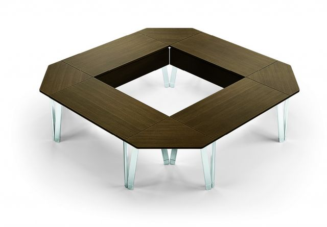 Agility | Reconfigurable Table | G30 Zinc Walnut Veneer | Diamond Configuration