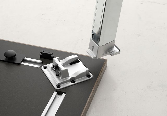 Agility | Reconfigurable Tables | Polished Chrome Leg |  Knock Down Leg Detail