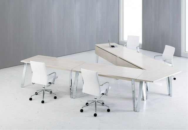Agility | Reconfigurable Tables | Polished Chrome Legs | Sightline Configuration