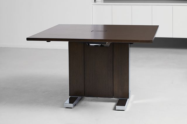 Approach | Reconfigurable Table | M33 Mocha Walnut Veneer | Power Matrix | Chicago Showroom
