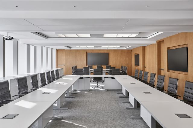 Approach | Reconfigurable Tables | U Shape | White Laminate Top | Cloud Painted Base | Law Firm