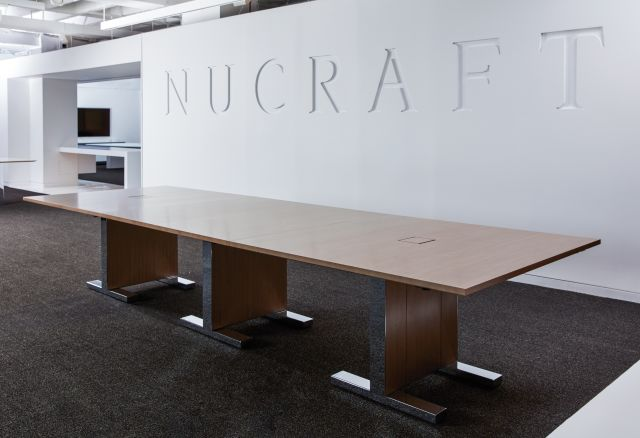Approach | Reconfigurable Tables | Walnut M35 Marron Veneer | Nucraft Chicago Showroom