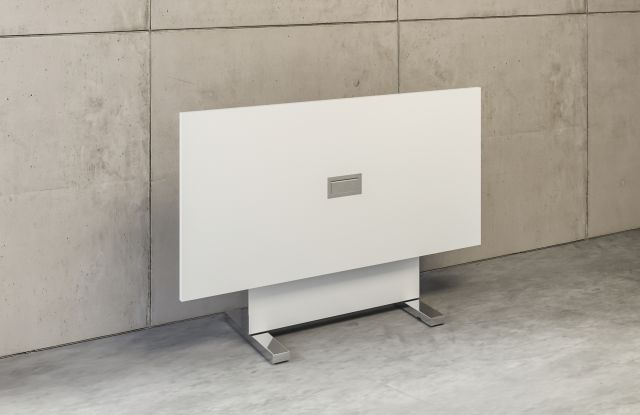 Approach | Reconfigurable Table | Rectangle Bright White Laminate | Flipped Top | Tech Node