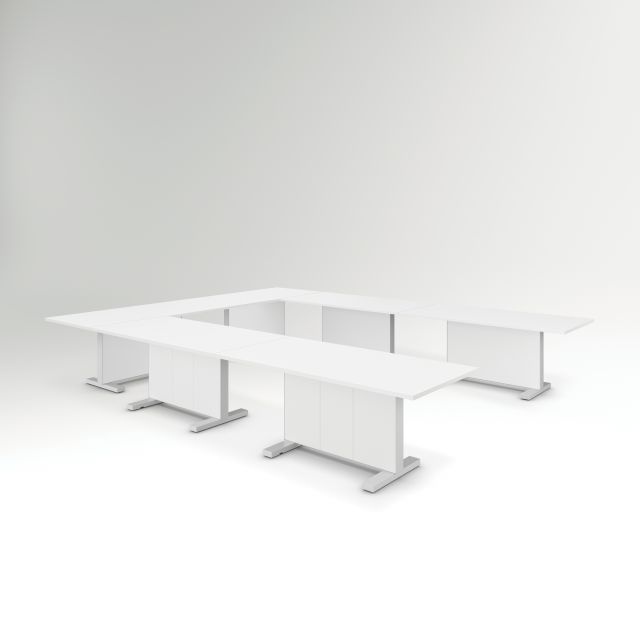 Approach | Reconfigurable Tables | Bright White Laminate Top | U Configuration