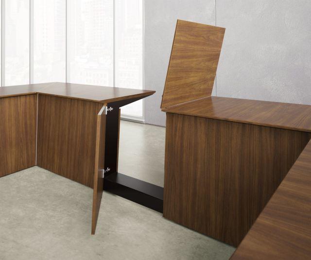 Ativa | Conference Table | M35 Marron Walnut Veneer | Access Door