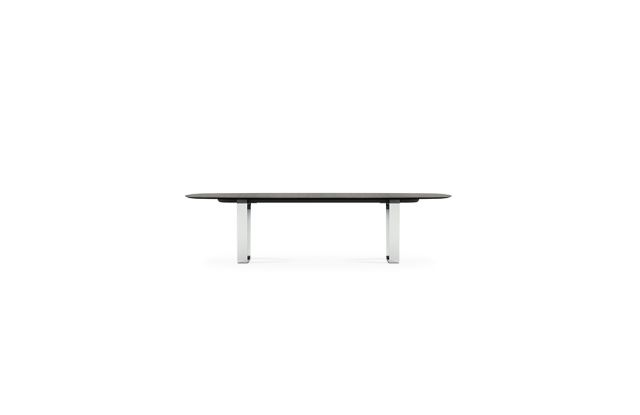 "Baja | Conference Table | Soft Rectangle Veneer Top | Polished Chrome Hoop Base | 120"" x 48"" Size"
