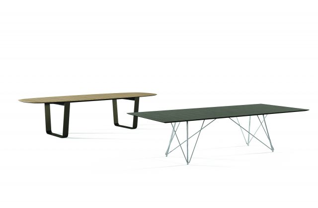 Baja | Conference Table | Soft Rectangle and Rectangle with Crest Edge | Wire Frame and Hoop Base