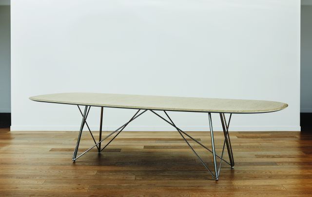 Baja | Conference Table | Custom Veneer Top | Polished Chrome Wire Frame Base | Soft Rectangle, Surf Edge