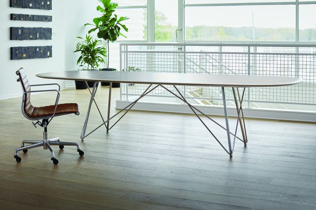 Baja | Conference Table | Custom Veneer Top | Polished Chrome Wire Frame Base | Soft Rectangle, Surf Edge | Nucraft Headquarters