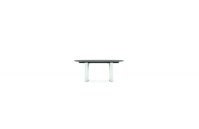 Baja | Conference Table | Rectangle Veneer Top | Polished Chrome Hoop Base