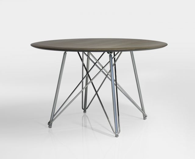 Baja | Meeting Table | Round M07 Bramble Oak Veneer | Polished Chrome Wire Frame Base |