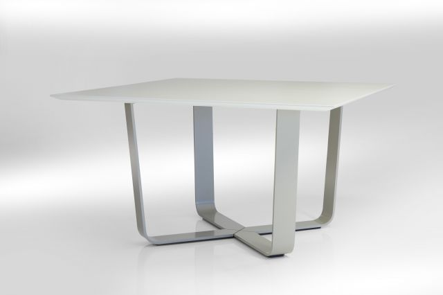 Baja | Meeting Table | Square White Ash Laminate Top | Burnished Powdercoat Hoop Base | Crest Edge