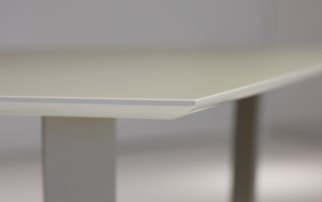 Baja | Meeting Table | White Ash Laminate Top | Burnished Powdercoat Hoop Base