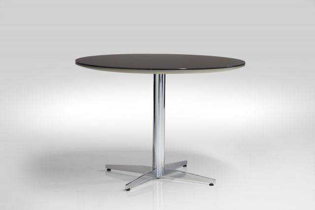 Cambium | Meeting Table | Black Satin Glass Top | Polished Chrome Base