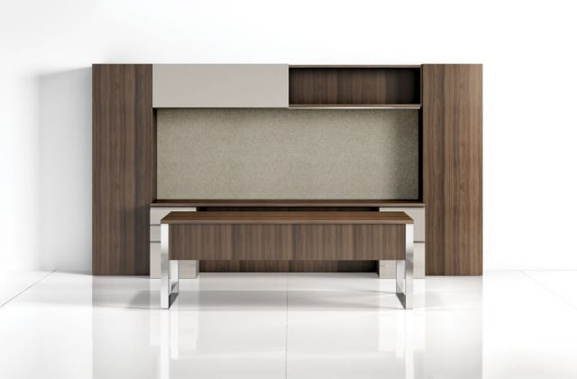 Cambium | Casegood  | G31 Walnut | Oyster Drawers | Polished Chrome Base | Freestanding
