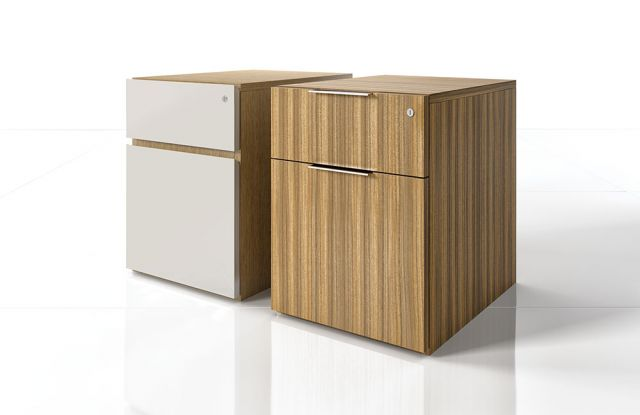 Cambium | Casegood | White Painted and Paldao Veneer | Pedestals