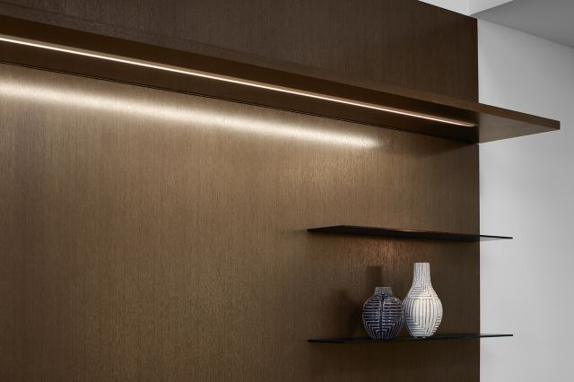 Cambium | Casegood | G03 Carbon Rift Cut Oak Veneer | Shelf Detail with Task Light