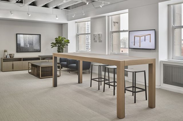 "Epono | Community Table | 120"" × 42"" Silver Birch Linea Veneer 