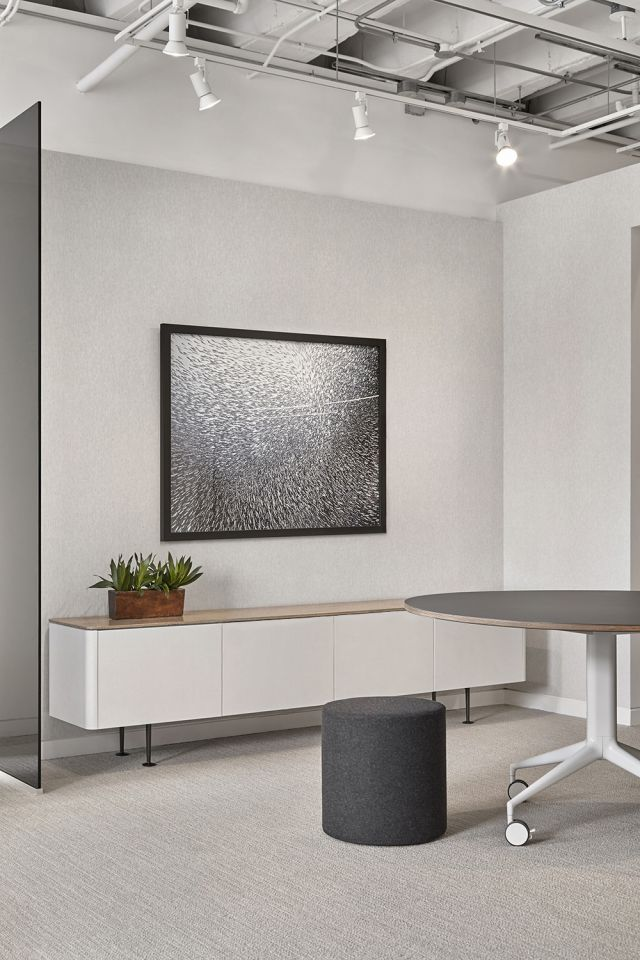 "MYNE | Credenza and Meeting Table | Blanco Ash Veneer (Credenza) 54"" Dia Forbo Smokey Blue (Table) 