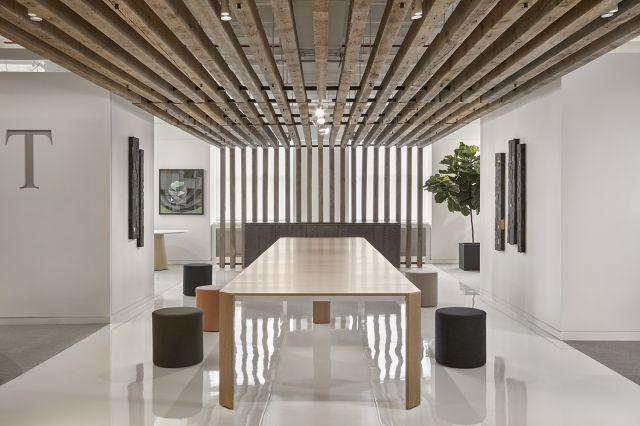 "Tova | Conference Table | 240"" × 54"" Custom Black Birch Linea Veneer | Polished Chrome Base | Chicago Showroom"