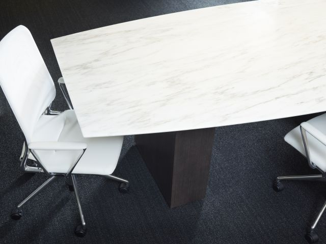 Flow | Conference Table | Boat Shaped Stone Top | Veneer Column Base | Chicago Showroom