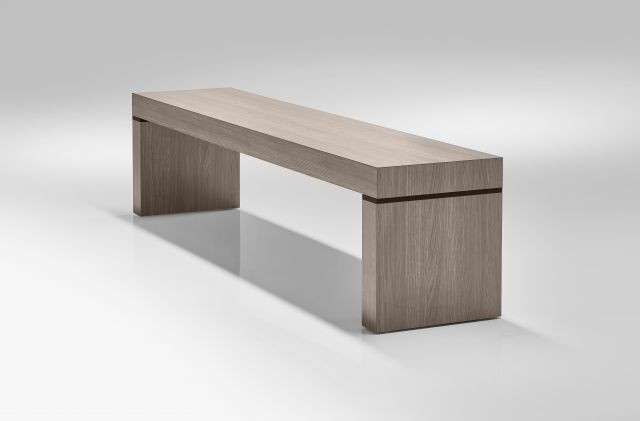 Tesano | Bench | Custom | Weathered Ash Laminate | Black Anodized Detail | Whitesweep