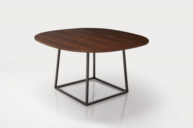 Two4Six | Meeting Table | Soft Square Custom Fumed Etimoe Veneer | Open Frame Base
