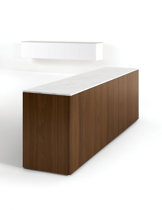 Flow | Credenza | M35 Marron Walnut Veneer | Stone Top | Buffet Height
