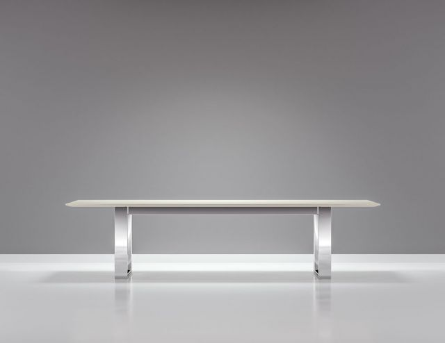 "Flow | Conference Table | Rectangle White Glass Top | Polished Chrome Hoop Base | 120"" x 48"" Size"