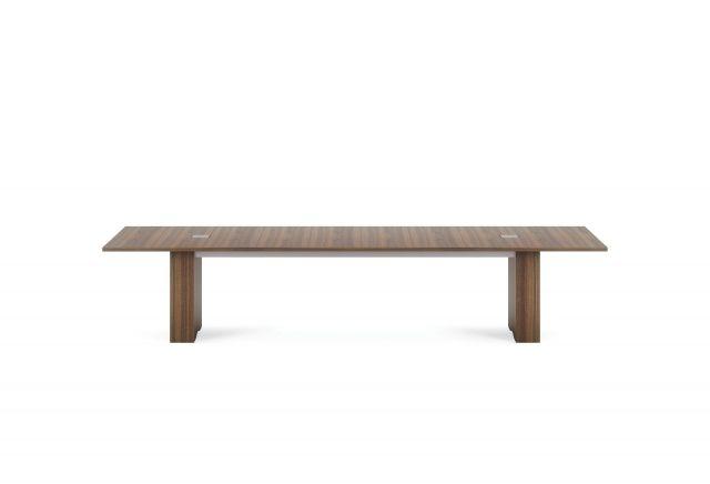 "Flow | Conference Table | M35 Marron Walnut Veneer 144"" Top | Rectangle Expandable Base | 2 Medium Power Matrix"