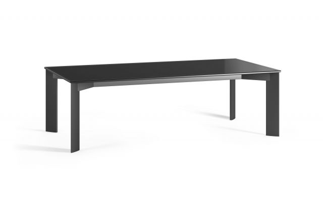 Flow | Conference Table | Black Glass Top | Black Powdercoat Four Post Base